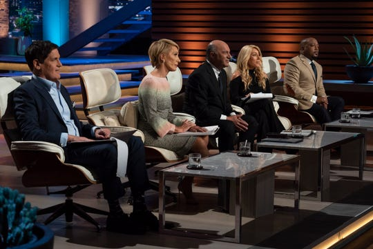 "Mark Cuban, Barbara Corcoran, Kevin O'Leary, Lori Greiner and Daymond John are entertained by a pitch gone wrong for Haven Lock on ABC's ""Shark Tank."""