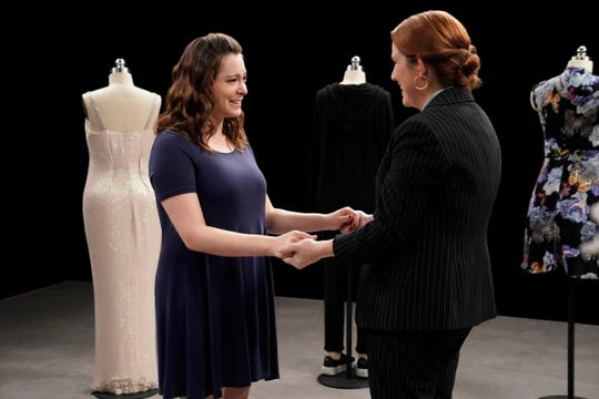 Rebecca finally tells Paula (Donna Lynne Champlin) what she's thinking when she appears to stare off in the distance.