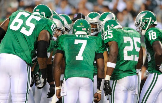 The Eagles last wore the Kelly green throwbacks in the 2010 season opener.