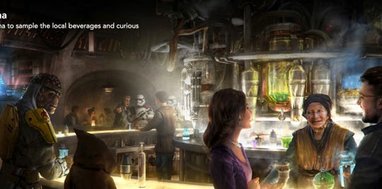 Oga's Cantina is an establishment at Disney's much-anticipated Star Wars: Galaxy's Edge destination set to open May 31 at Disneyland on May 31 and Hollywood Studios on Aug. 29.