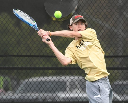 TL Hanna one-seed Brolin Dorsey defeated Greenwood's Creighton Bowen during a match in Anderson Thursday.