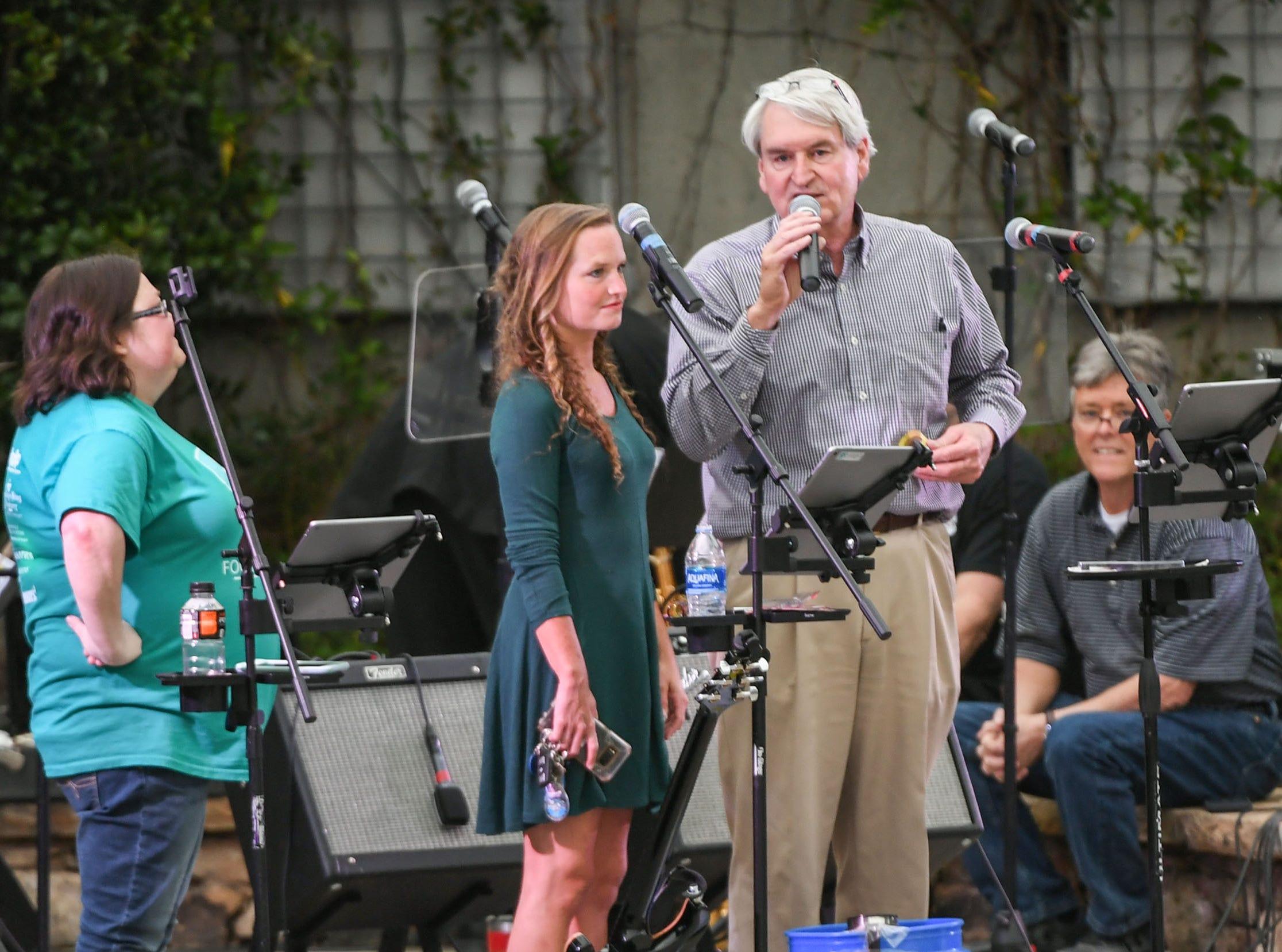 Carey Jones, Jr. speaks during the Main Street Program Block Party at Carolina Wren Park in downtown Anderson Thursday.