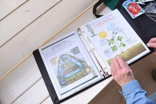 Frances Boudreaux, director of the Food Bank of Central Louisiana's Good Food Project, shows one of the lessons created by the Good Food Project staff for Mable Brasher Elementary School and Phoenix Academic Magnet School students involved in a pilot program that teaches how the S.T.E.M (Science, Technology, Engineering and Math) curriculum relates t gardening and nutrition. The program is a collaboration between the Food Bank of Central Louisiana and the Rapides Parish School Board.