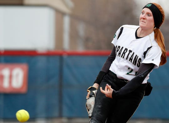 Oshkosh North senior Sydney Supple pitches against Appleton East on April 4 in Appleton. Supple committed to Northwestern when she was in eighth grade.
