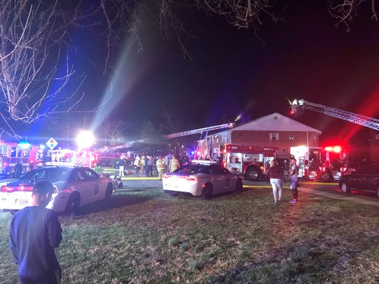 Firefighters are battling a blaze at Thursday night at the Jamestowne Village apartment complex  in Toms River.