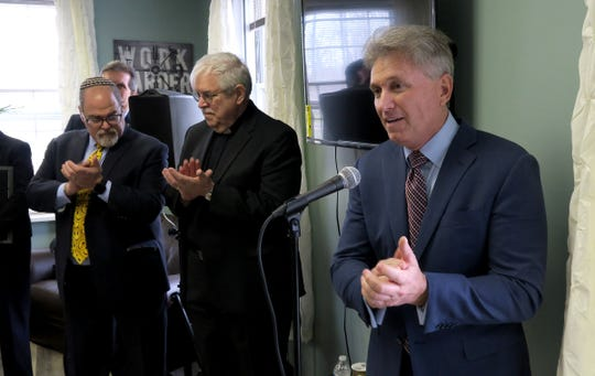 """Oceanport Mayor John F. """"Jay"""" Coffey speaks after the ribbon-cutting for the new Family Promise emergency shelter on the old Fort Monmouth property in Oceanport Friday, April 5, 2019."""