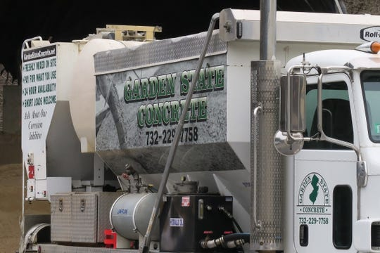 One of the concrete mixing trucks at Garden State Concrete in Tinton Falls Friday, April 5, 2019.
