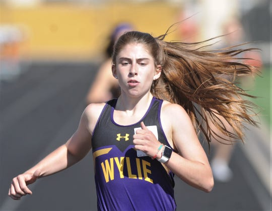 Wylie's Abbigayle Gollihar wins the 800 meters at the District 4-5A track and field meet Thursday, April 4, 2019, at Aledo's Bearcat Stadium. Gollihar won the event with a time of 2:23.70 to beat out teammate Leandra Benton (2:26.31).