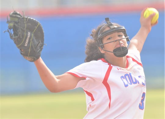 Cooper pitcher Kaleigha Kemp tosses a pitch in the third inning against Wichita Falls Rider. Kemp tossed a three-hitter as the Lady Coogs beat Rider 10-0 in five innings in the District 4-5A game Friday, April 5, 2019, at Cougar Diamond.