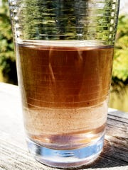 Particles float in a glass of water April 5, 2019, after oxidized manganese was unintentionally released during a March 26 pipe repair into much of Asheville's water system.