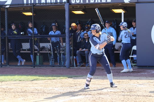 Binghamton High graduate Paige Rauch prepares to hit for Villanova University's softball team. Rauch is hitting .387 with nine home runs for the Wildcats.