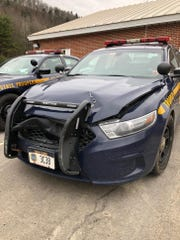 A New York State Police vehicle that was damaged during a pursuit the night of April 4, 2019.