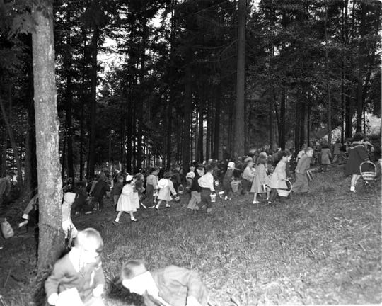 On Easter, April 18, 1954, Kitsap area children combed Forest Ridge Park in Bremerton to find colored eggs hidden there by volunteers from Bremerton Eagles F.O.E. 192. Specially marked eggs netted lucky participants prizes. To see more photos from the Kitsap County Historical Society Museum archives, visit facebook.com/kitsaphistory, kitsapmuseum.org, or stop by the museum at 280 Fourth St. in Bremerton. Call 360-479-6226 for information.