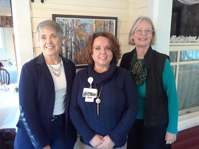 Mary Donnelly, left, of Dementia Friendly WNC, Black Mountain-Swannanoa Chamber of Commerce Board of Directors President and adjunct member of Dementia Friendly WNC Tonia Holderman, center, and Suzi Berl used the Biscuits and Business chamber event on April 3 to introduce the local community to the nonprofit organization.