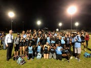 The Rockledge High girls track & field team celebrates its ninth consecutive Cape Coast Conference title.
