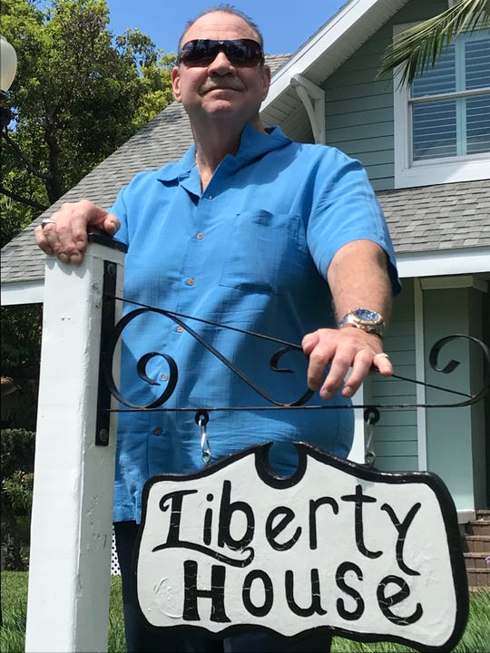 Pastor David Cox in front of the newly renovated Liberty House that will house men who have been clean and sober for at least a year.