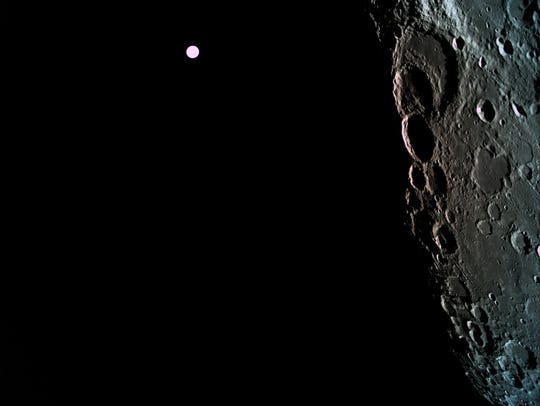 A picture of the far side of the moon, with Earth in the background, taken by SpaceIL's Beresheet lunar lander. The picture was taken 292 miles above the lunar surface during an April 4 maneuver that successfully placed the craft in lunar orbit, setting the stage for a planned April 11 touchdown.