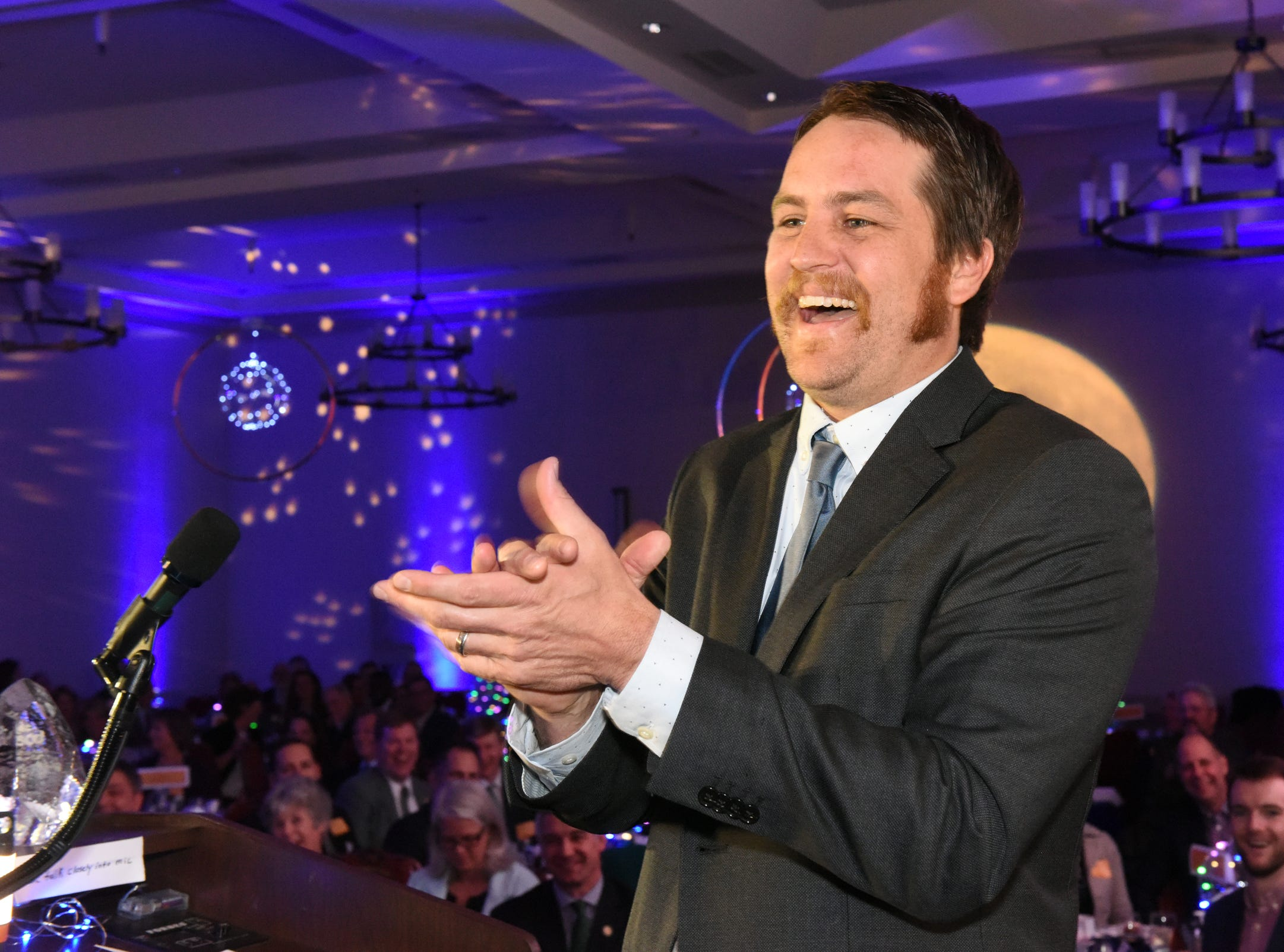 Justin Heilenbach, co-founder of Citizen Cider, accepts the 2019 Burlington Business Award at the 41st BBA Burlington Business Association Dinner & Annual Meeting at the Hilton Burlington Lake Champlain in Burlington, VT on Thursday, April 4, 2019.