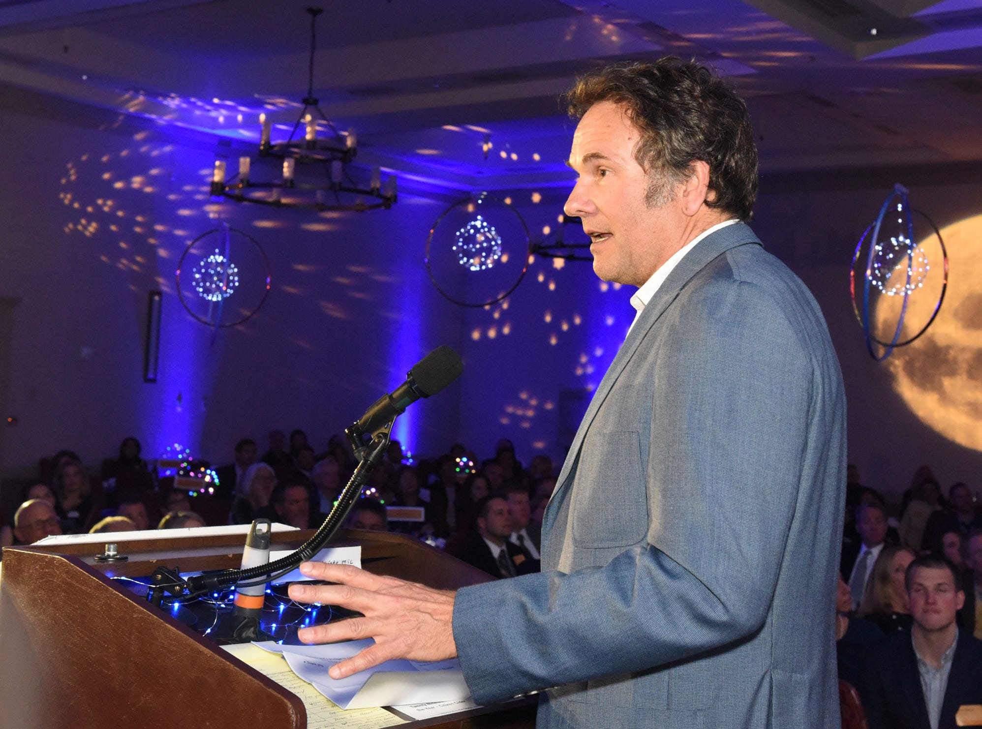Larry Williams of Redstone VT receives the 11th Annual Tim Halvorson Award for business person of the year at the 41st BBA Burlington Business Association Dinner & Annual Meeting at the Hilton Burlington Lake Champlain in Burlington, VT on Thursday, April 4, 2019.