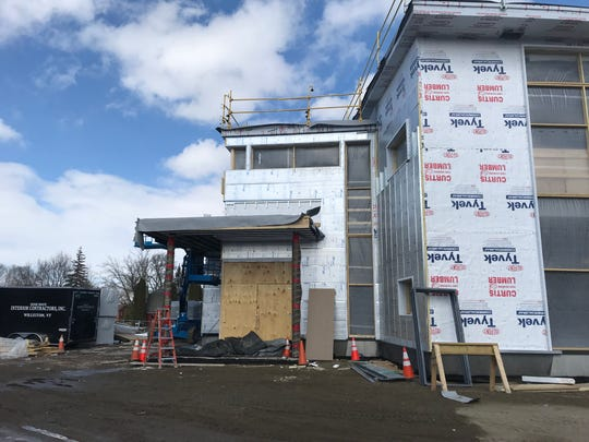 The new Pierson Library in Shelburne  in a closer view from the back corner on March 3, 2019,