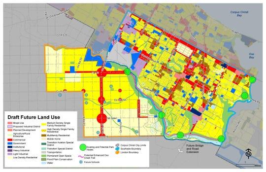 An April 4 draft map for future development on Corpus Christi's Southside, London area.