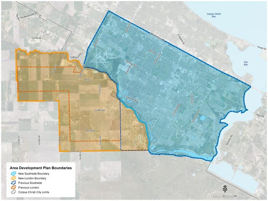 In this rendering, city officials outline the new and old boundaries for the planning areas considered the London area and the city's Southside.