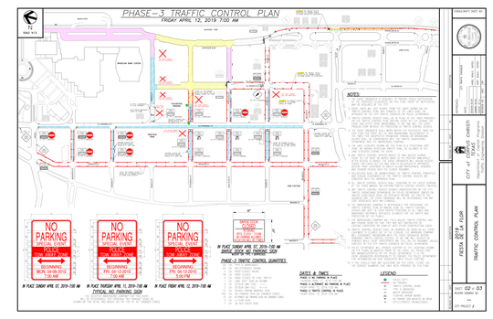 A City of Corpus Christi map shows the traffic control plan for April 12 during Fiesta de la Flor 2019.