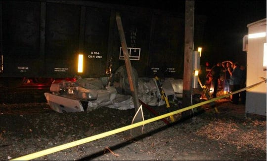 A man died after his vehicle was struck by a train in San Diego on April 4, 2019.