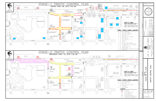 A City of Corpus Christi shows traffic control plans for April 8, 2019 and April 10, 2019, ahead of Fiesta de la Flor.