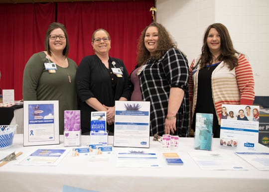 (L-R) Nicole Bullock, Cassidy Simmons, Heather Welshimer, and Annie Howard  from Adena's Sexual Assault Survivor Advocacy Program spent time at Carver Community Center  to educate people about the resources available to help those in the community.