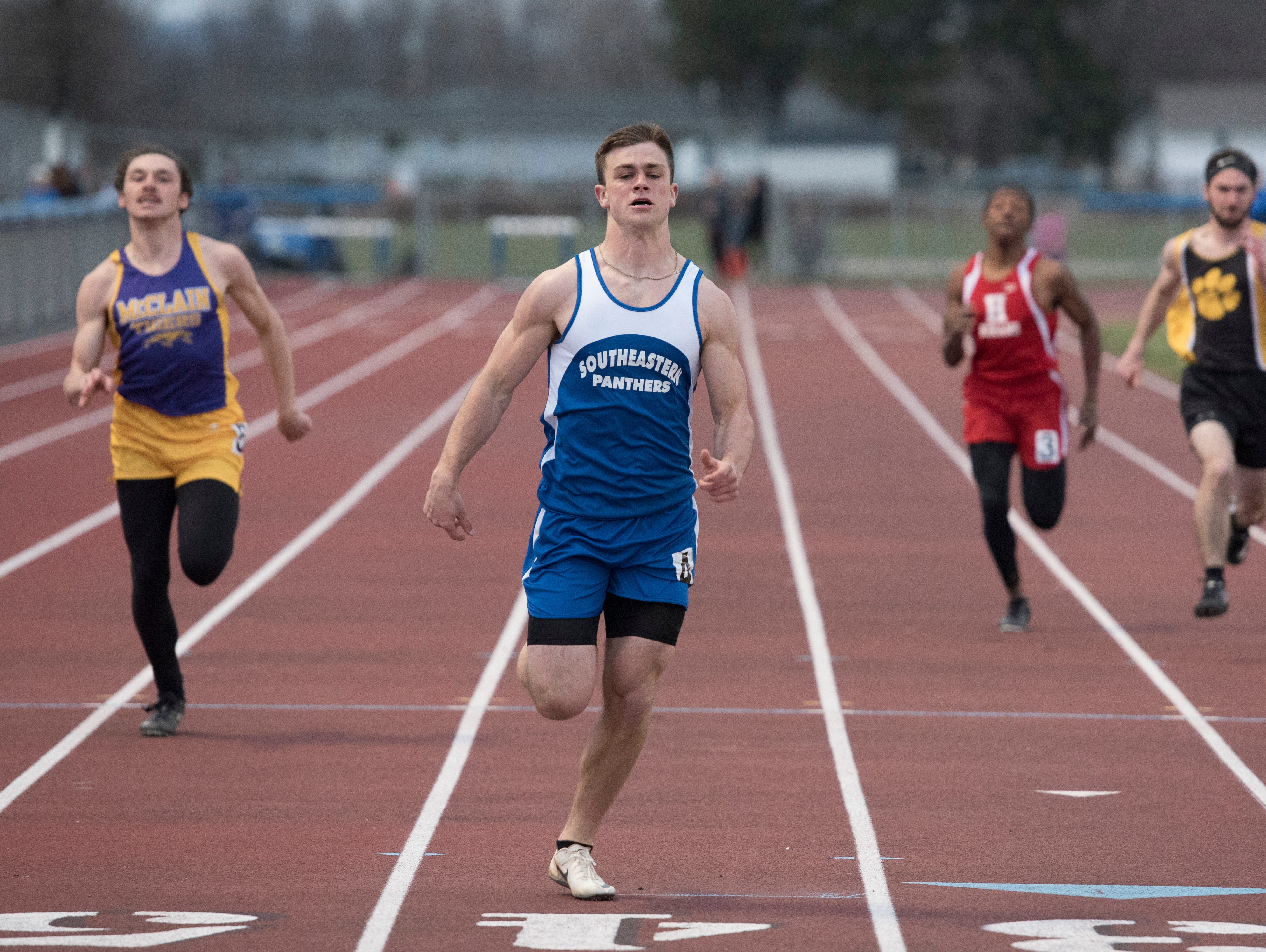 Southeastern's Lane Ruby took first place Thursday afternoon in the boys' 200 meter dash at Southeastern's RL Davisson Invite Thursday afternoon by a time of 22.58.