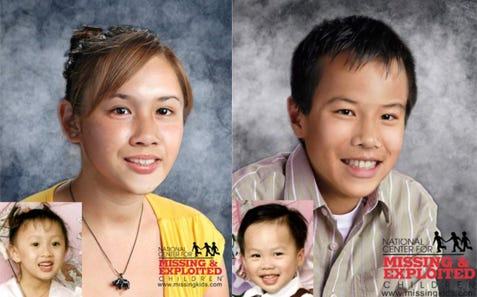 Siblings John and Kristina Nguyen went missing from Rising Sun April 19, 2002. The large photos are age-progressed to show what the children might look like in their teens.