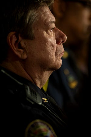 Newport Police Chief Tom Collins listens to questions at the press conference regarding Brian Michael Rini, who claimed to be missing boy Timmothy Pitzen, at the U.S. Attorney's Office in downtown Cincinnati Friday, April 5, 2019.