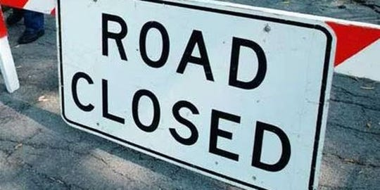 The closure begins at the 400 block of River Road and extends to 700 River Road.