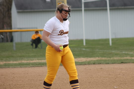 Western Brown pitcher Sydni Barnes prepares to deal against Anderson April 4
