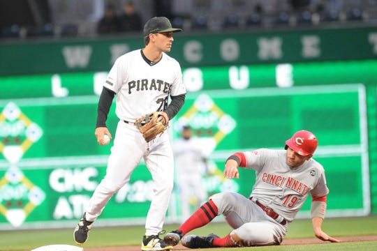Cincinnati Reds base runner Joey Votto (19) is forced out at second base by Pittsburgh Pirates second baseman Adam Frazier (26) in the first inning at PNC Park.