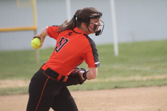 Anderson junior Alli Madden delivers the ball toward the plate April 4 vs. Western Brown
