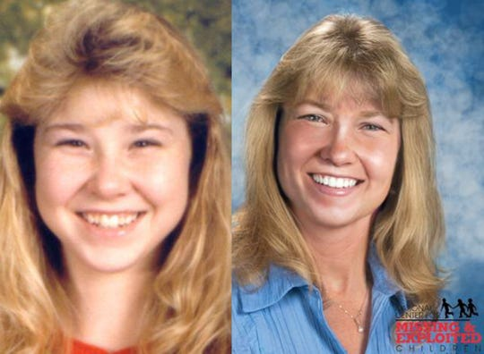 Left: A photo of Karen Spencer when she was 17. Right: An age-progressed photo showing what she would look like at age 41.