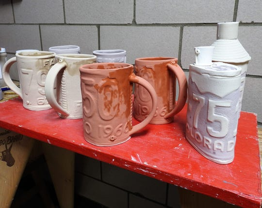 After a first firing in a kiln, items are glazed and fired again. With all the drying involved, it takes about two weeks to make a completed piece. All pieces are food- and oven-safe.