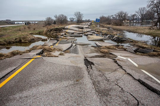 Major flooding along the Missouri River in southwest Iowa last month left behind crumbling and debris-covered roadways. Some could take months to reopen, the DOT said Thursday.