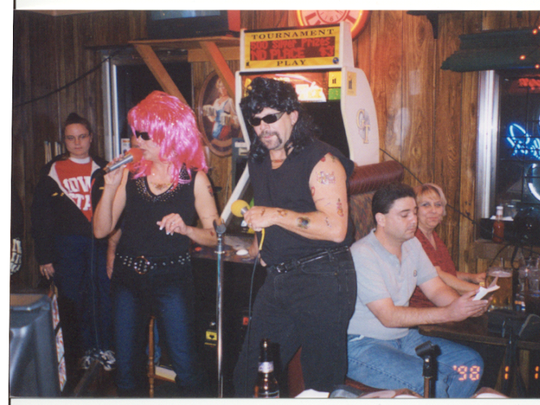 Susan and Paul Strome dressed up for karaoke.