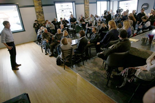 More than 50 people gathered to see presidential candidate Beto O'Rourke at Kerps Tavern on Thursday morning.