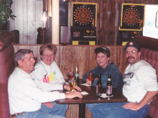 Susan and Paul Strome (right) with Susan's parents (left).