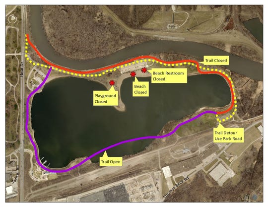 Walkers, runners and cyclists will have to take a detour on the Gray's Lake Park trail this weekend.