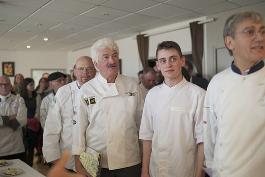 Michael LaValle with first place winner of the competition was Gaspard Roumy from Alsace, 20, winner of the Cuisiniers de la Loire Trophy Contest.