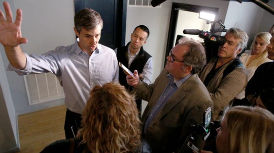 Beto O'Rourke, a Democrat from Texas, speaks to reporters after a campaign stop in Carroll at Kerps Tavern on Thursday morning.