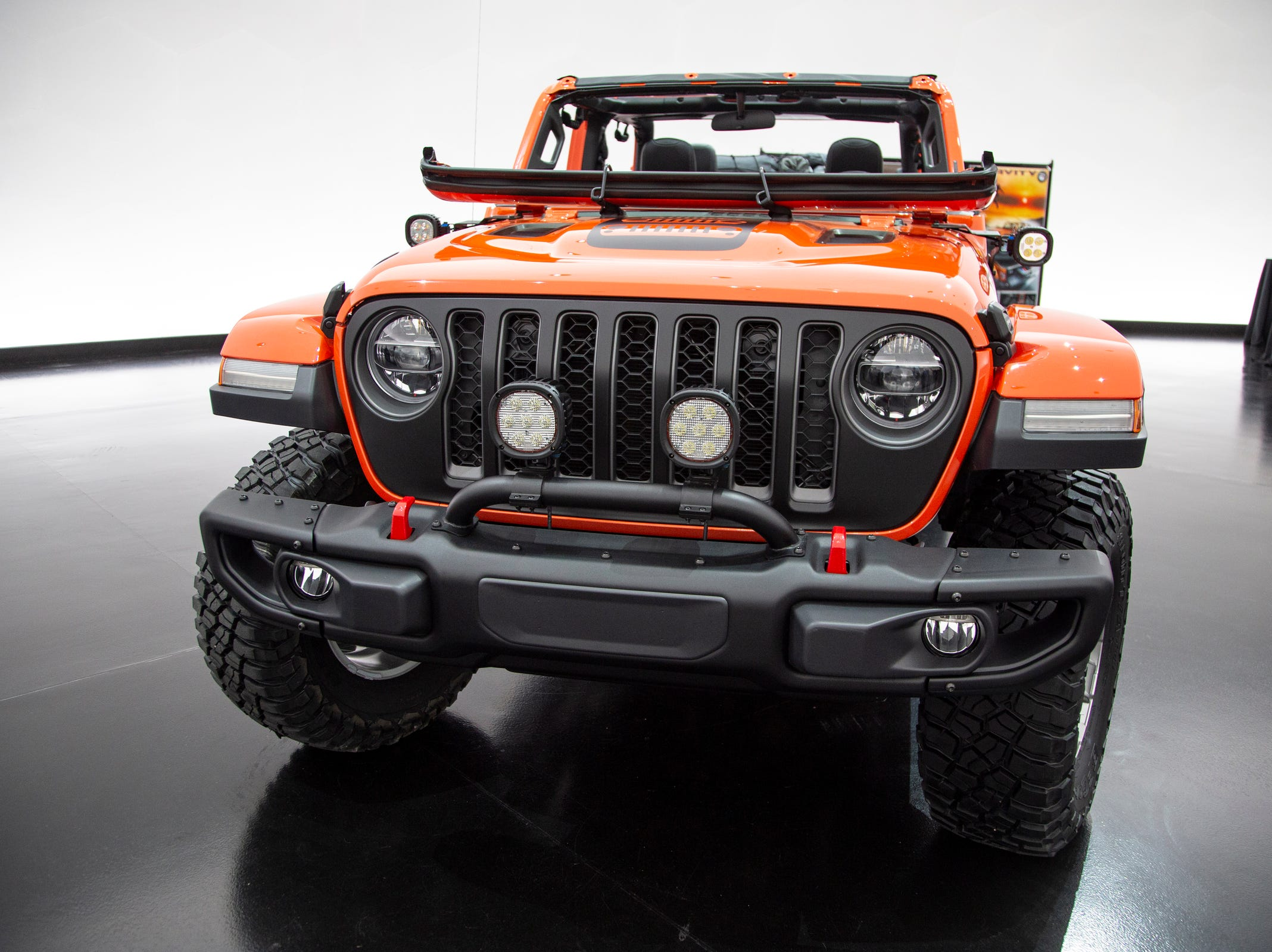 Jeep and Mopar brands debut six concept vehicles including the Jeep Gladiator Gravity Friday, April 5, 2019 at the Fiat Chrysler Tech Center and headquarters for the 53rd annual Moab Easter Jeep Safari. The Jeep Gladiator Gravity is a rock-climber-themed concept colored in Punk'N Metallic Orange. Steel tube doors allow for a more open air concept. The bed offers the Mopar/Decked truck bed storage system with dual sliding drawers for lockable cargo.