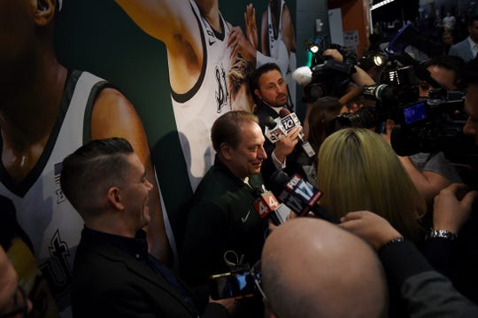 Michigan State head coach Tom Izzo answers questions from the media in a hallway at U.S. Bank Stadium in Minneapolis, Minnesota on Friday, April 5, 2019.