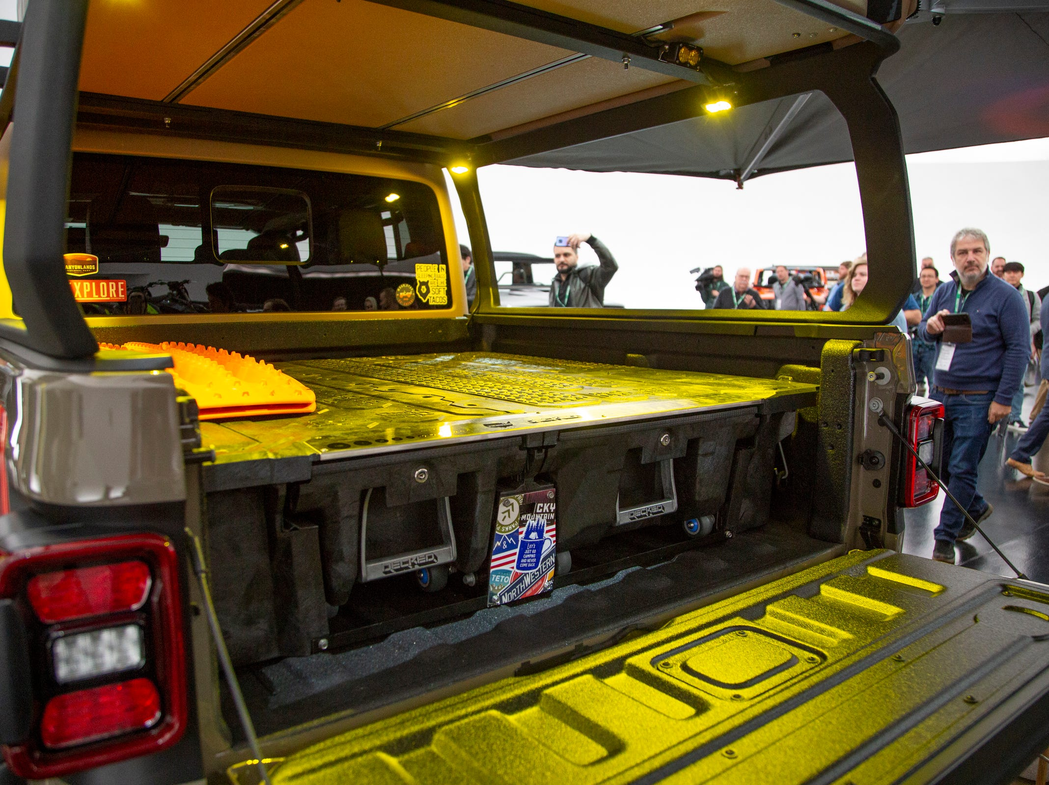 Jeep and Mopar brands debut six concept vehicles including the Jeep Wayout Friday, April 5, 2019 at the Fiat Chrysler Tech Center and headquarters for the 53rd annual Moab Easter Jeep Safari. The Jeep Wayout showcases a full roof-top tent and custom, large sprawling canopy. The Wayout's body armored exterior features a new Gator Green color that will be available on all production Gladiator models. This Jeep also features a Mopar/Decked bed-drawer system for added lockable dry storage on long treks.