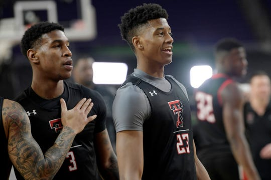 Texas Tech sophomores Deshawn Corprew, left, and Jarrett Culver on the court during a practice open to the public before the Final Four at U.S. Bank Stadium in Minneapolis on Friday, April 5, 2019.